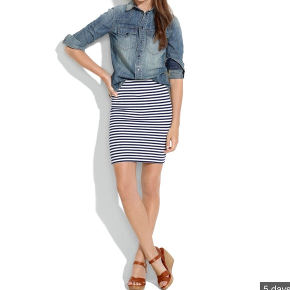 acd7de8f24 Madewell Dresses & Skirts - Madewell navy and white striped pencil skirt